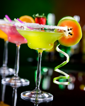margarita: Fruit cocktails on black background