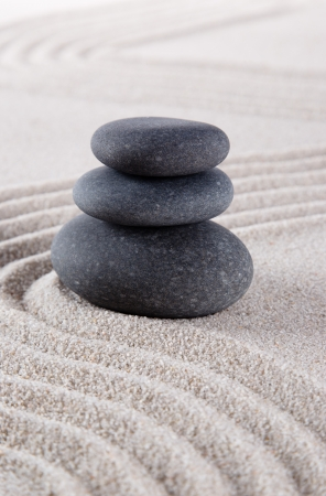 raked: zen stone in the sand