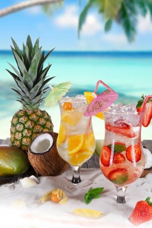 beach drink: Summer drinks on sunny beach Stock Photo