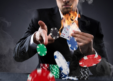 croupier: Portrait of a professional poker player Stock Photo