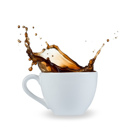 tazas de cafe: bienvenida de caf?islada sobre fondo blanco Foto de archivo