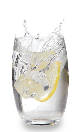 coctail: Lemons with fresh cold mineral water in a glass Stock Photo