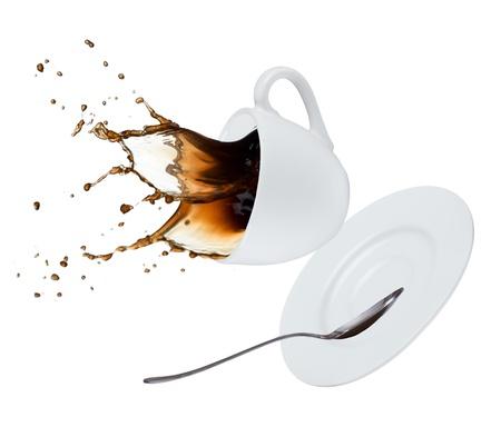 白い背景に分離されたコーヒー スプラッシュ 写真素材