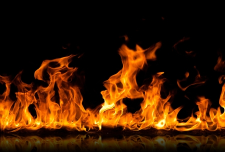 Fire flames on a black background 版權商用圖片