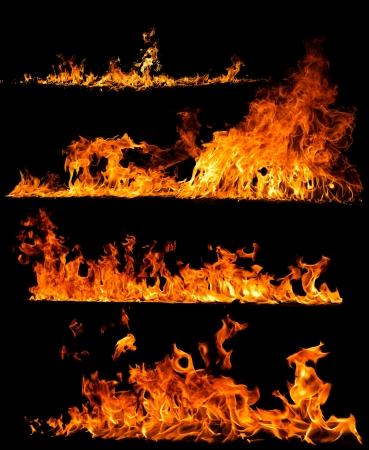Coleção de fogo de alta resolução isolada no fundo preto Foto de archivo