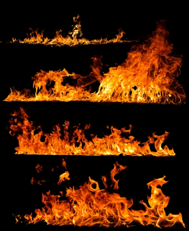 High resolution fire collection isolated on black background photo