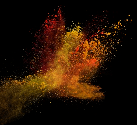 background isolated: Launched colorful powder, isolated on black background