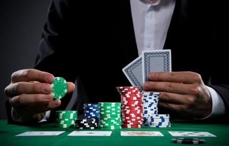 Portrait of a professional poker player 版權商用圖片