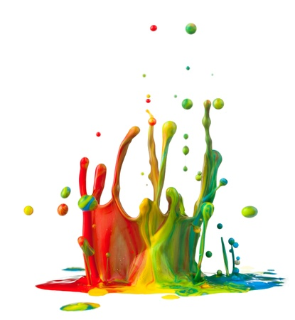 paint drips: Colorful paint splashing on white background