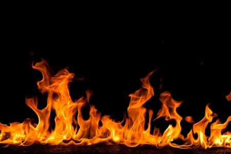 Fire flames on black background Stock Photo - 20865775