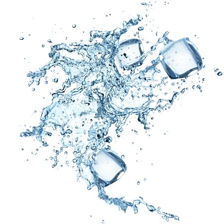 Salpicaduras de agua con cubos de hielo Foto de archivo - 21048465