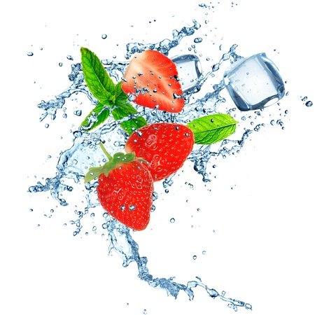 Water splash with ice cubes and strawberry