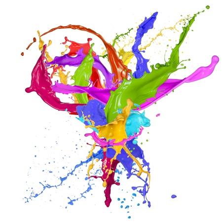 Colorful vernice schizzi su sfondo bianco Archivio Fotografico - 21157756
