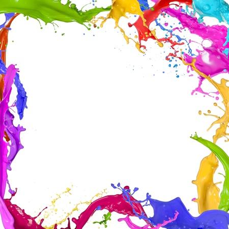 カラフルな塗装の白い背景の上のしぶき 写真素材