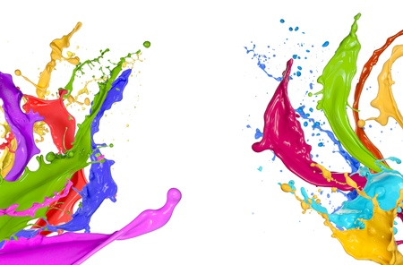 Colorful paint splashing on white background photo