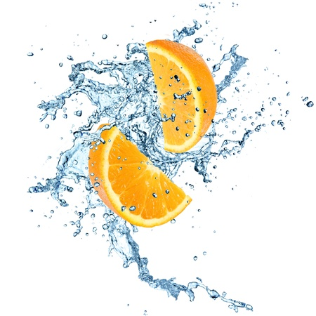 Oranges in water explosion Stock Photo