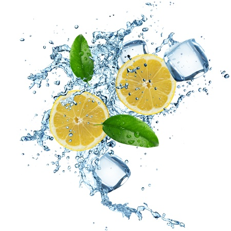 ice cubes: Lemons in water splash isolated on a white background Stock Photo