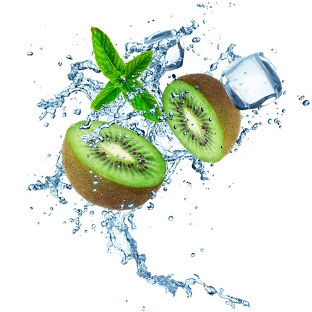the frozen water: Kiwi with water splash isolated on a white background