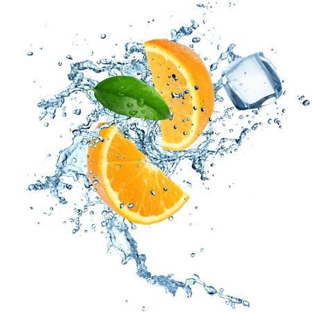 fruit drop: Oranges in water explosion Stock Photo