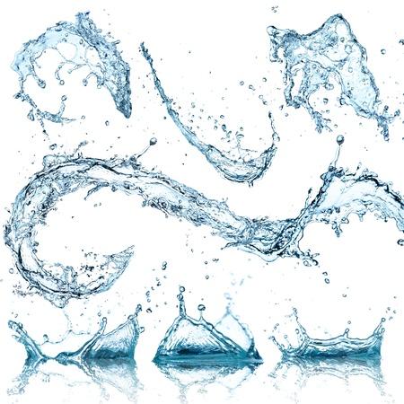 Water spatten collectie op een witte achtergrond