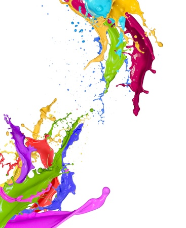 ink splash: Colorful paint splashing on white background