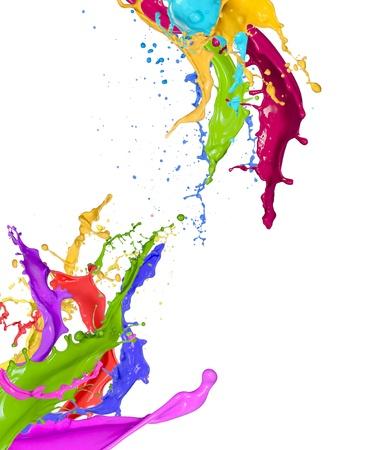 Kleurrijke verf spatten op witte achtergrond