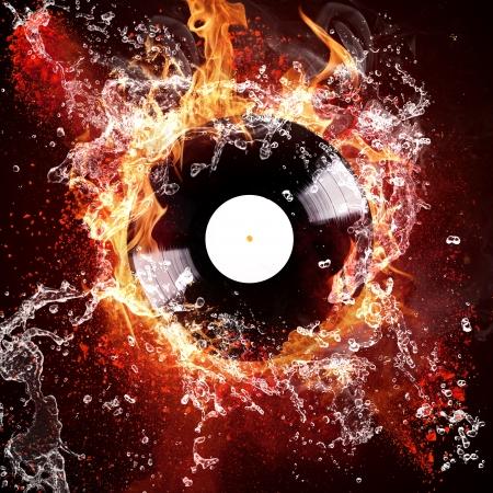 hits: Burning vinyl disc hot hits Stock Photo