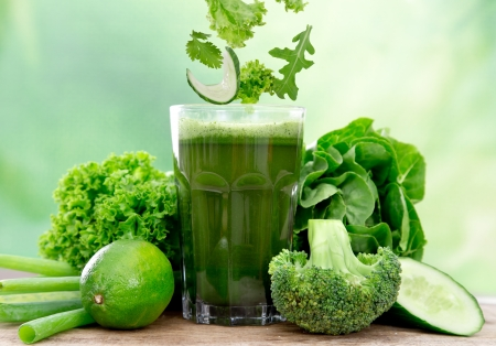healthier: Healthy green vegetable juice on wooden table