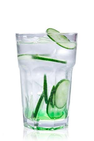 lemon water: Drink with ice cubes and lime slices