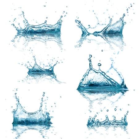 Hoge resolutie Water spatten collectie op een witte achtergrond