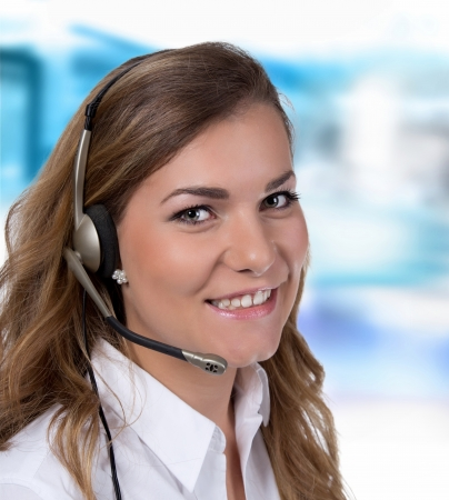 Call center operator business woman isolated on white background Stock Photo - 22243104