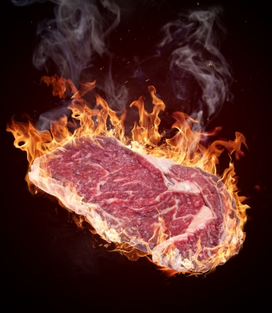 charbroiled: Premium Raw beef sirloin on black background Stock Photo