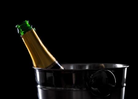 Champagne over black background  Celebration theme Stock Photo - 22386401