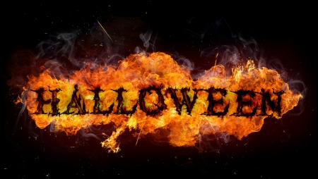 Scary Halloween background with fire flames Stock Photo - 22386481