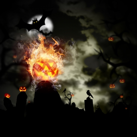 jack o lantern: Scary Halloween background with fire flames Stock Photo