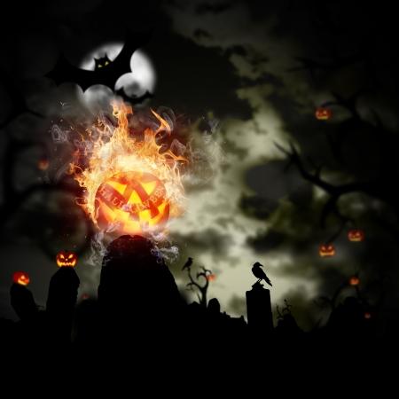 calabazas de halloween: Scary Halloween de fondo con llamas de fuego