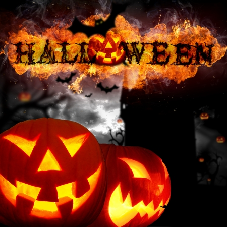 Scary Halloween background with fire flames Stock Photo
