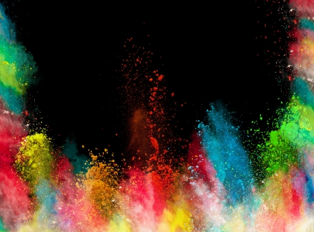 Launched colorful powder, isolated on black background Фото со стока - 22651589
