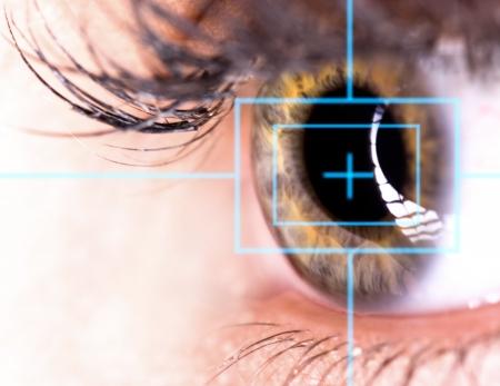 レーザーは、美しい目はクローズ アップ 写真素材