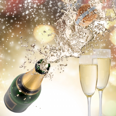 Close-up of champagne explosion  Celebration theme  photo