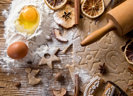 Baking utensils, spices and food ingredients on wooden background with copy space   Stock Photo - 23498742