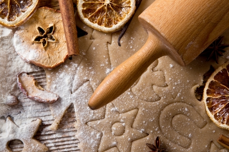 Baking utensils, spices and food ingredients on wooden background with copy space   photo