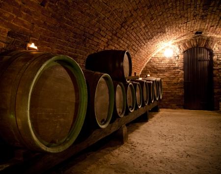Close-up of interior in a wine cellar