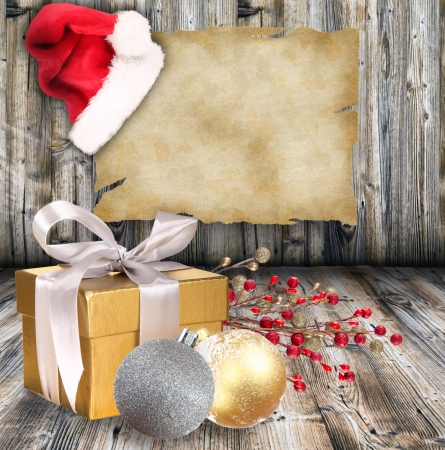 Christmas giftson wooden background photo
