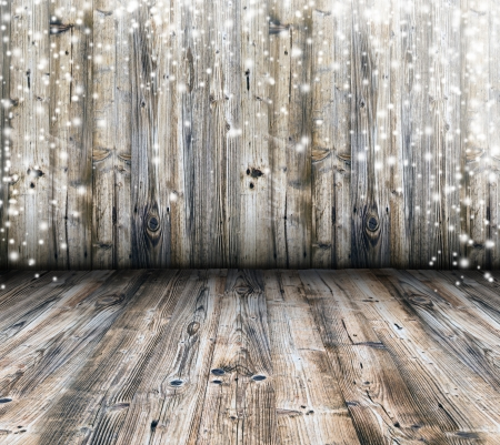 christmas backgrounds: Wooden background with falling snow Stock Photo
