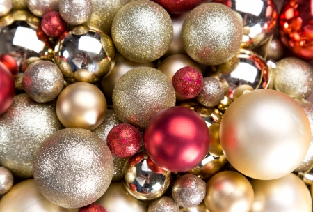 crystal bowl: Gold shiny christmas balls background Stock Photo