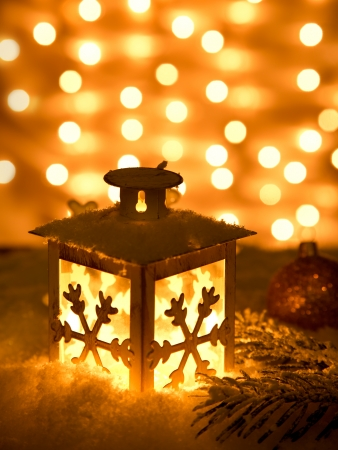 candle lights: Christmas lantern with snowflakes,Closeup  Stock Photo