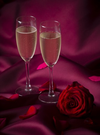 champagne flutes: Two champagne flutes. Valentine background.