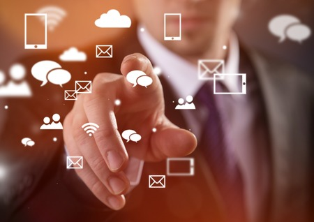 wireless technology: Modern wireless technology and social media illustration