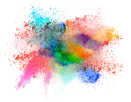 powder blue: Launched colorful powder, isolated on white background